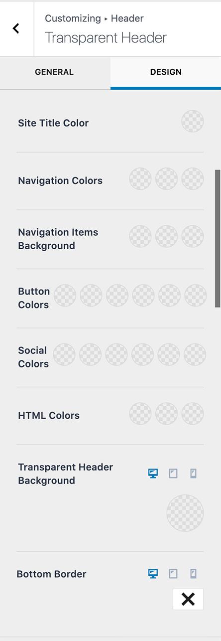 Kadence Transparent Header Design Settings